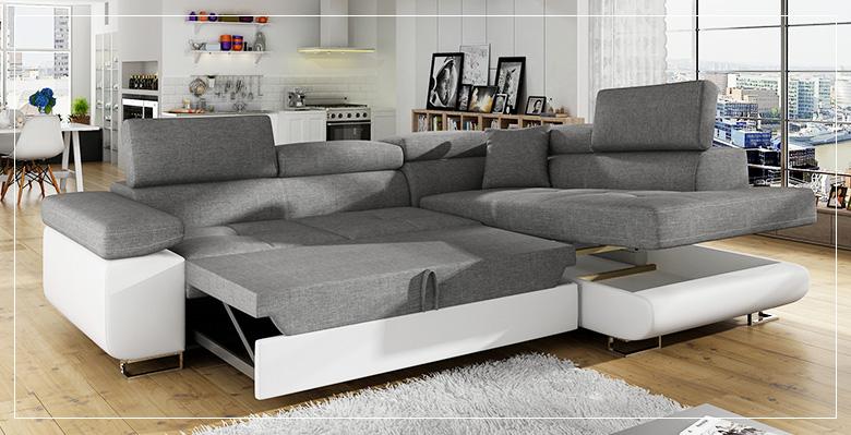Grand canapé d'angle convertible